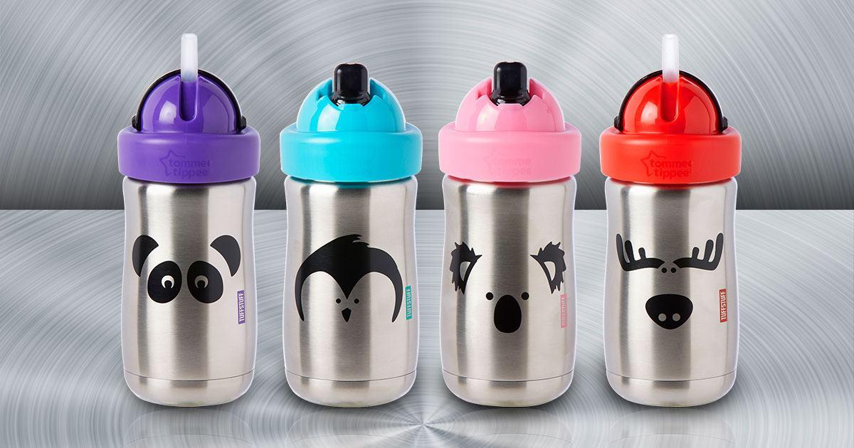 Tommee Tippee Stainless Steel Tuff Stuff Straw Cup 300ML (Moose / Panda / Koala / Penguin)