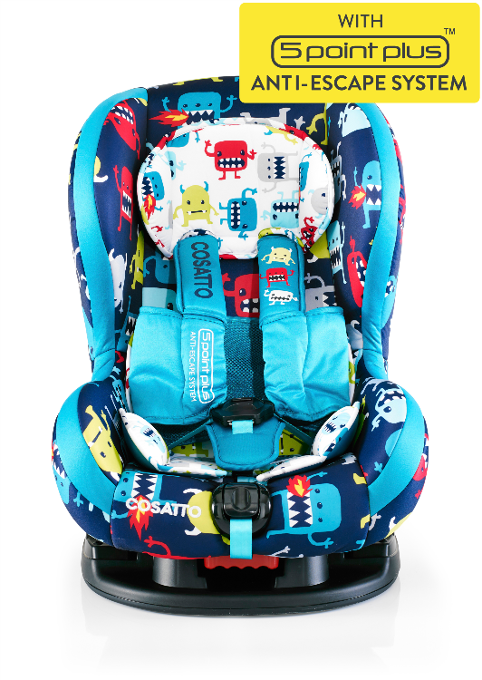 Cosatto Moova 2 Carseat (5 Point Plus Anti-Escape Harness) with Free Tummy pad and Chest pads
