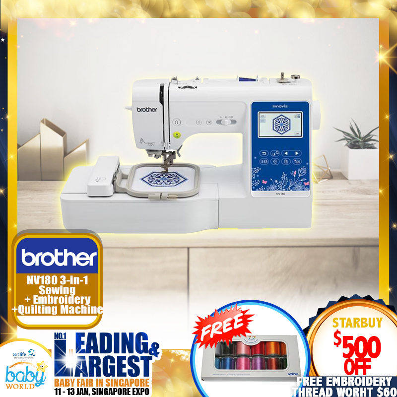 Brother 3-in-1 Sewing NV180 + Embroidery + Quilting Machine + Free Gift + 1 YEAR WARRANTY