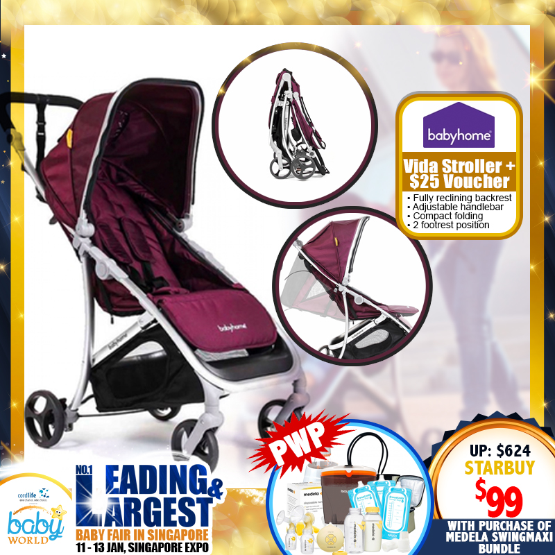 Babyhome Vida Stroller + $25 M&B Voucher For $99 ONLY!! PWP Deal!!
