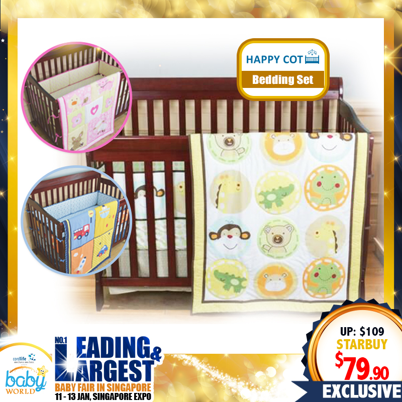 Happy Cot Bedding Set (3 designs) - 26 PERCENT OFF