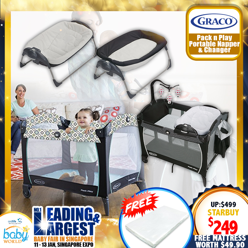 Graco Pack N Play Removable Napper and Changer (STUDIO) + Free 2 Inch Anti Dustmite Mattress worth $49.90