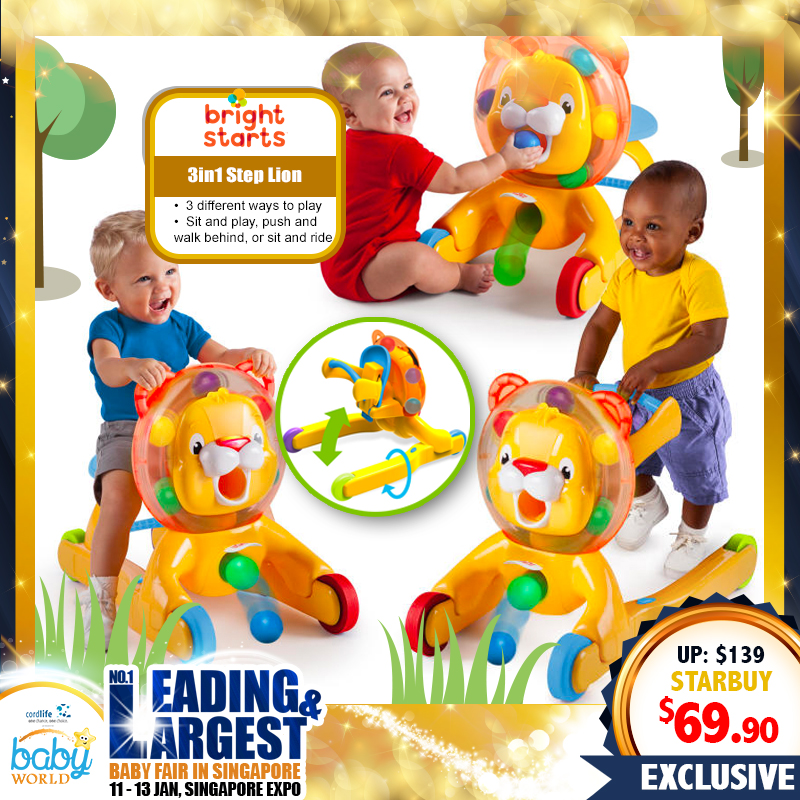 Bright Starts 3-in-1 Step & Ride Lion (Walker, Ride-On and Play!)