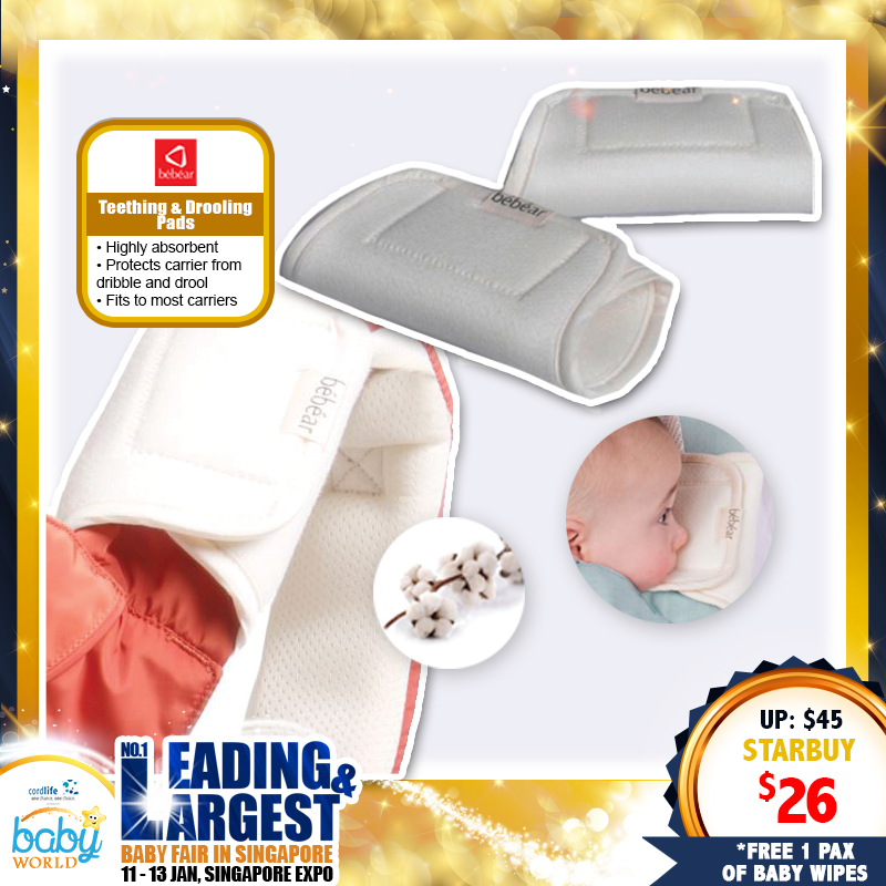 Bebear Carrier Premium Teething & Drooling Pad (2 pcs) *ADDITIONAL FREE Gift for EARLY BIRD SPECIAL!!
