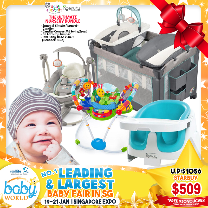 ULTIMATE BUNDLE: Ingenuity Smart & Simple Playpen + ConvertME Swing2Seat + Baby Einstein Activity Jumper + Baby Base!!! *$499 ONLY for EARLY BIRD Specials + $30 VOUCHER!