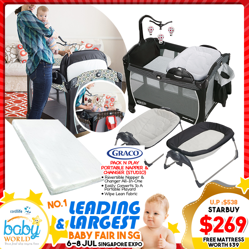 Graco Pack N Play Portable Napper and Changer Playpen + FREE Mattress