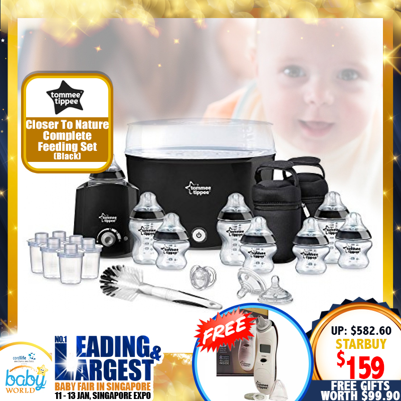 TOMMEE TIPPEE Closer to Nature Complete Feeding Set (BLACK / TEAL) + FREE Digital Thermometer Bundle for $159 ONLY!!!