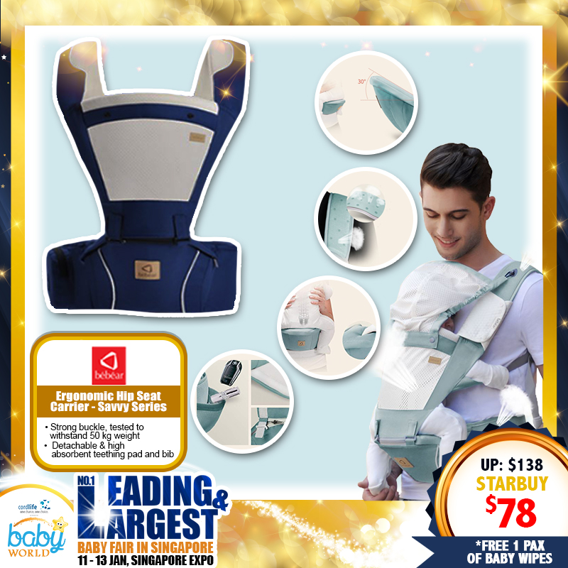 Bebear Ergonomic Hipseat Carrier - Savvy Series *ADDITIONAL FREE Gift for EARLY BIRD SPECIALS!!