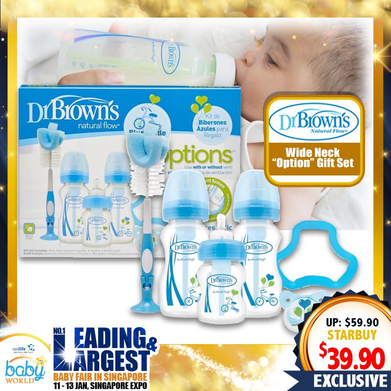 Dr Brown Option Wide Neck Bottle Gift Set (PINK/BLUE)