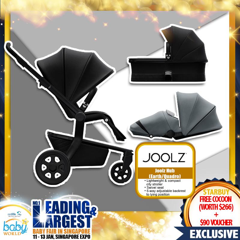 Joolz Hub Earth / Quadro Stroller FREE Cacoon (Worth $266) + $90 Cash Voucher