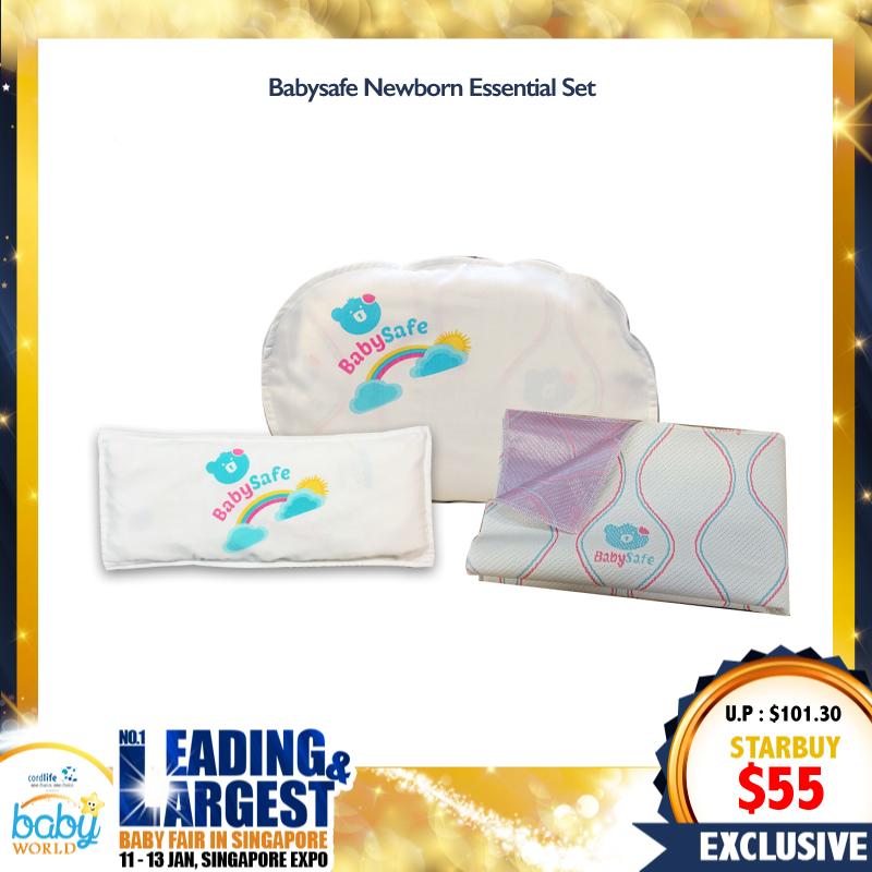 BabySafe Newborn Essential Set (Newborn Latex Pillow + Bambeanie Latex Pillow + Waterproof Mattress Protector (Flat)) Bundle