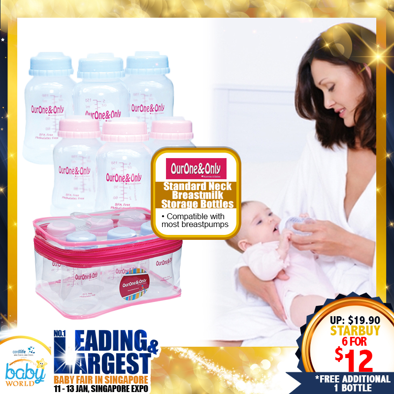 OurOne&Only Standard Neck Breastmilk Storage Bottle (Small - 6pcs) / (Large - 4pcs) *ADDITIONAL 1 Bottle for EARLY BIRD SPECIAL!!