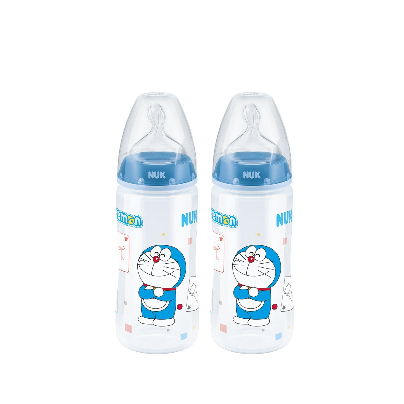 NUK Doraemon Bottle 300ml x 2 + Free Bottle Cleanser 950ml