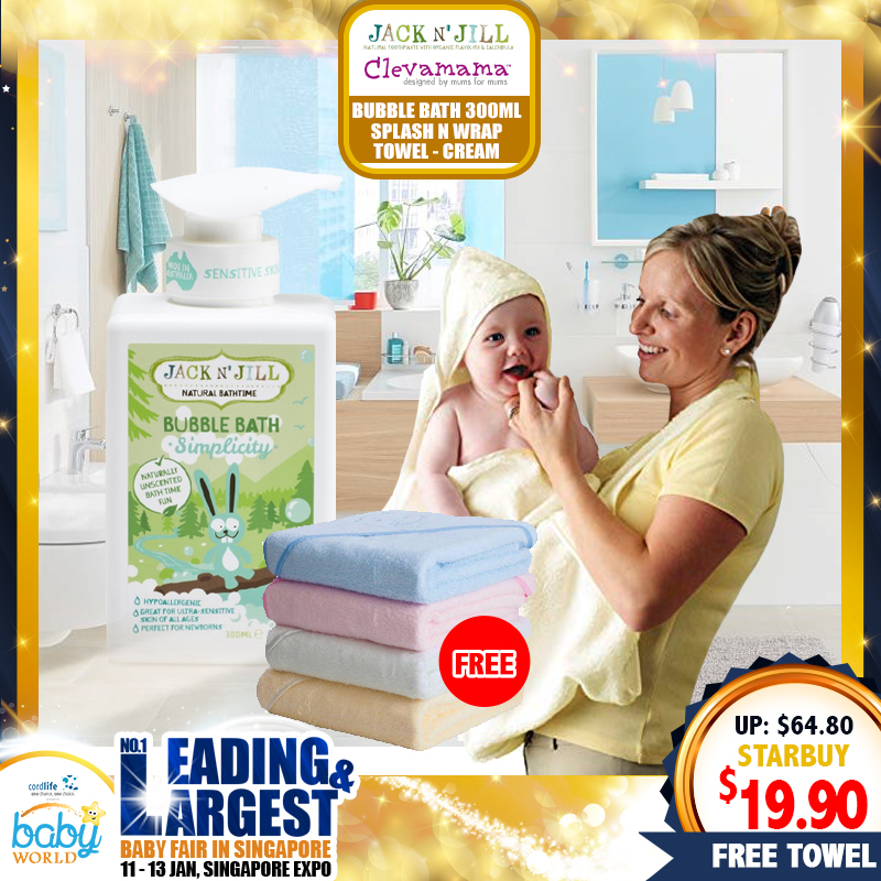 Jack N'Jill Shampoo & Body Wash / Moisturizer / Bubble Bath 300ML (Asst) + FREE Clevamama Splash & Wrap Towel (Cream)