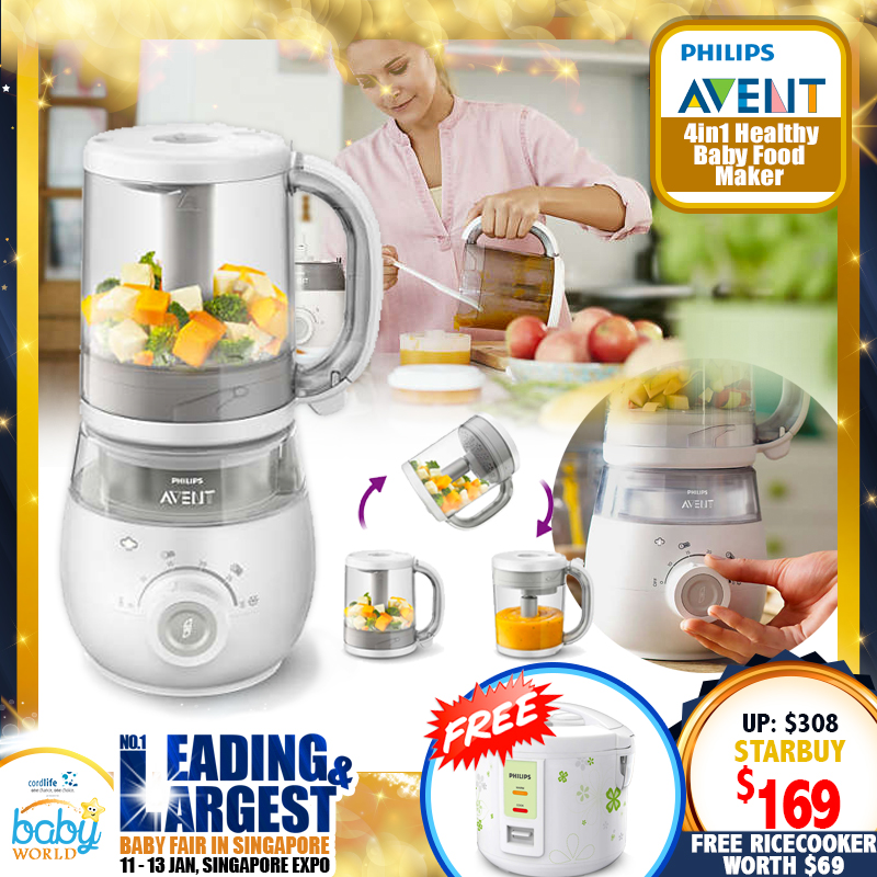 Philips Avent 4-In-1 Healthy Baby Food Maker (Steamer Blender + Free Rice Cooker Jar 1.0L worth $69!!)