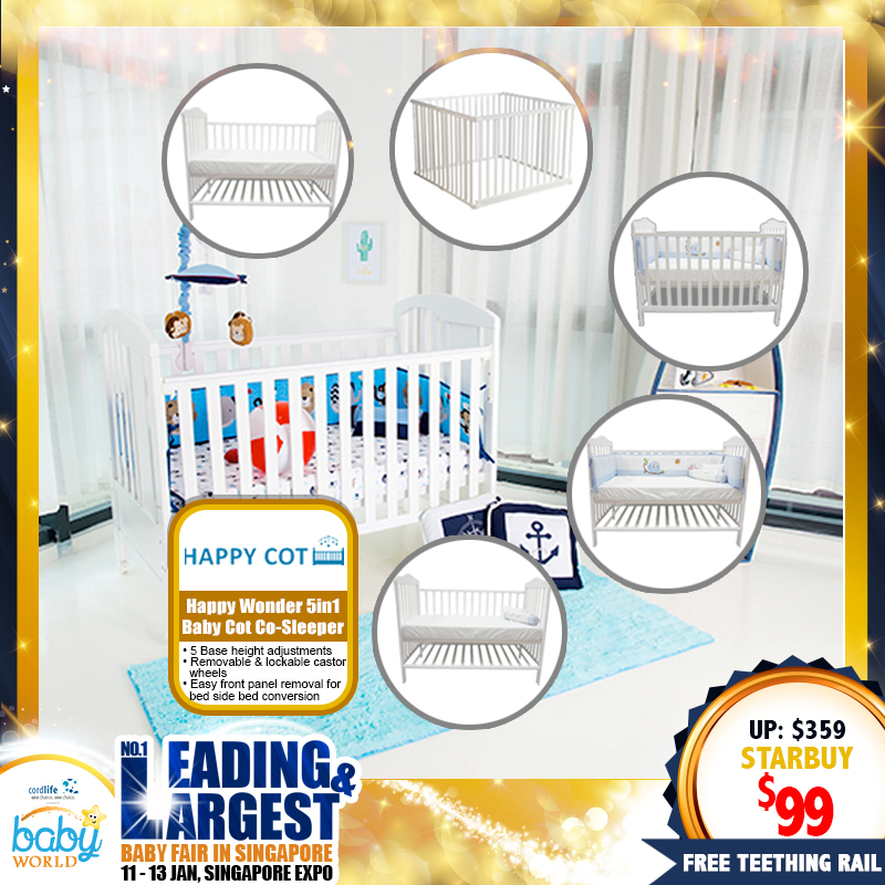 Happy Wonder 5 in 1 Baby Co-Sleeper Cot + Teething Rail (NOW 72 PERCENT OFF!!)