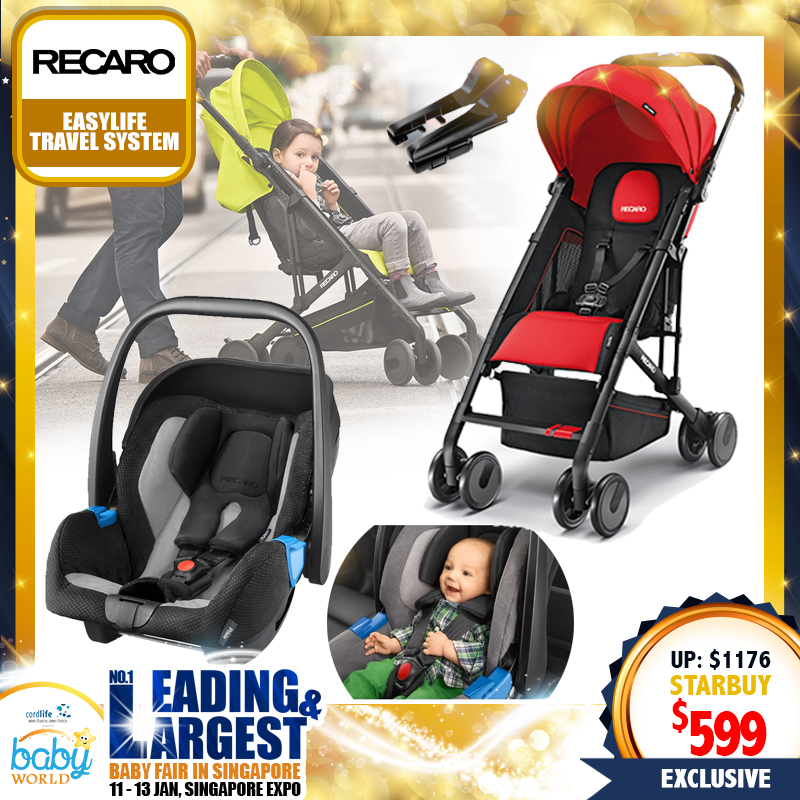 RECARO Easylife Travel System ( Easylife Stroller + Privia Evo Infant Carseat) + FREE Adaptor!!