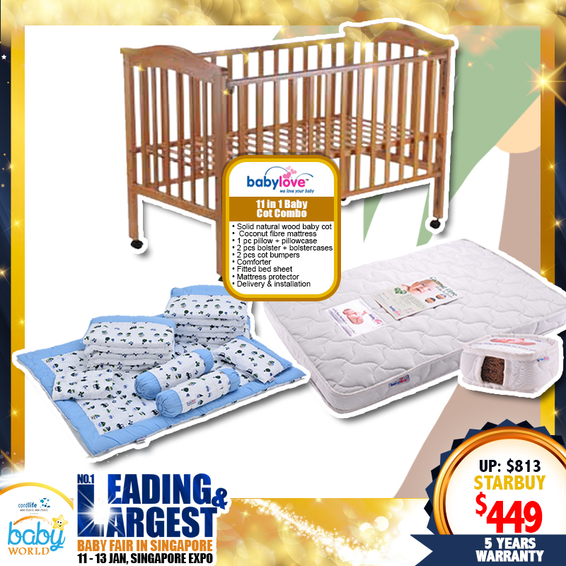 Babylove 11 in 1 Baby Cot Combo + Free 5 Years Warranty!!