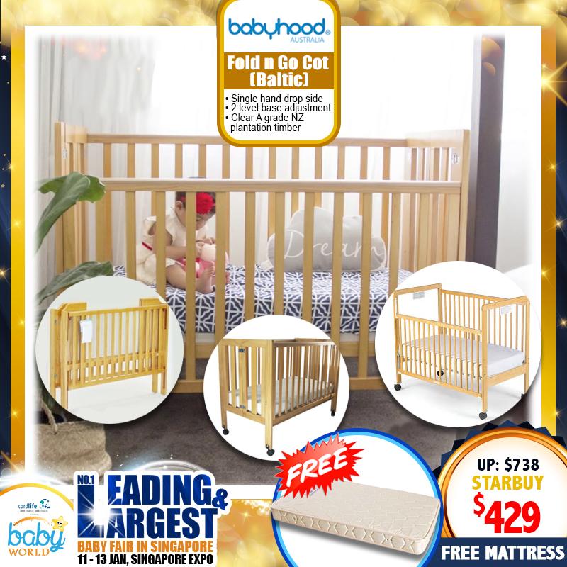 Babyhood FOLD N GO Cot + FREE Mattress