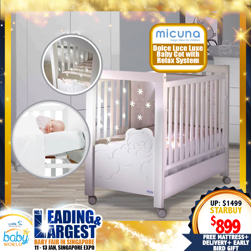 Micuna Dolce Luce Luxe Baby Cot with Relax System + 4
