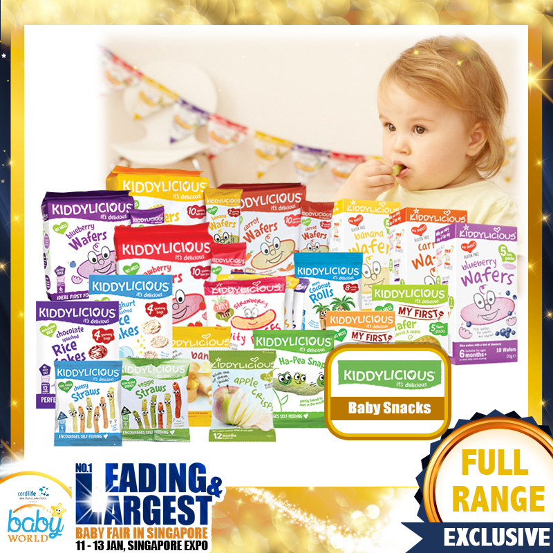 Kiddylicious Baby Food (Smoothie Melts / Crispie Tiddler / Fruity Puffs / Fruit Crisps / Mini Cheese Stars) Bundle of 8 + 1 Free