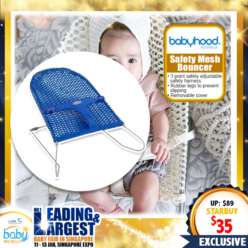 BABYHOOD SAFETY MESH BOUNCER (ASSORTED COLORS AVAILABLE!) - 61 PERCENT OFF