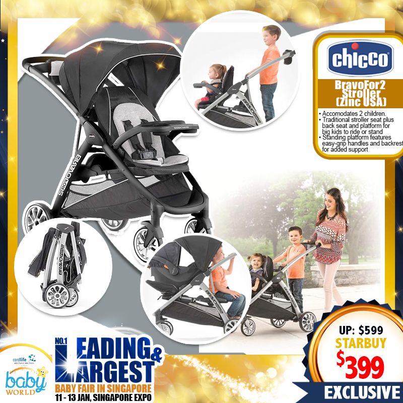 Chicco BravoFor2 Stroller Zinc USA