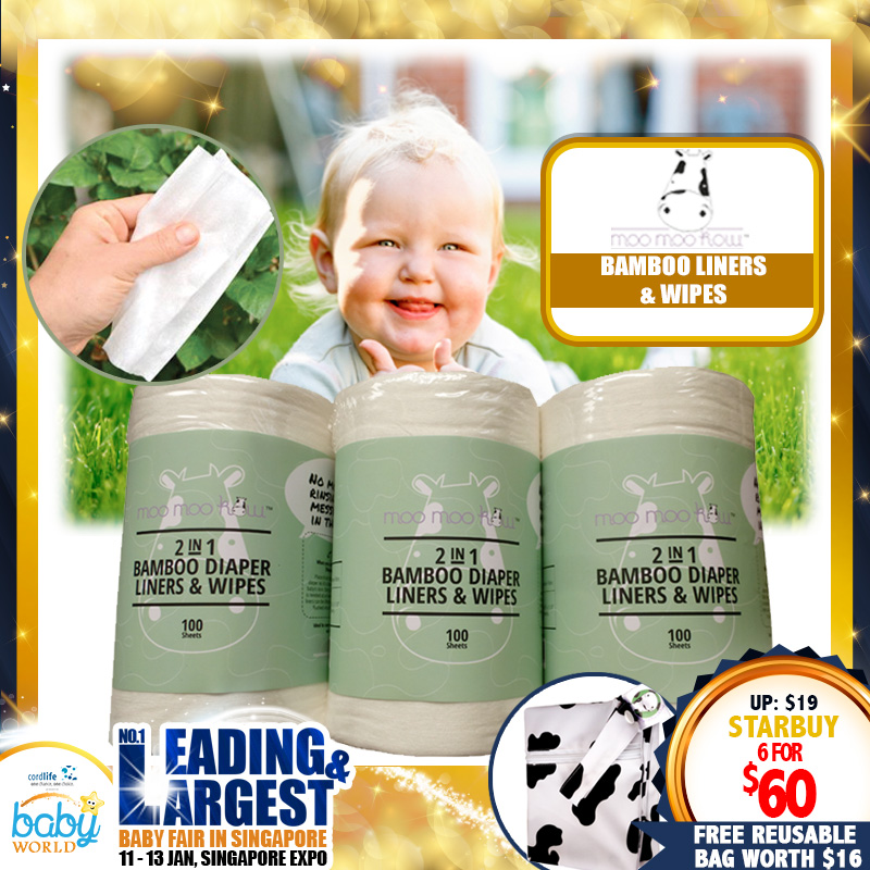 Moo Moo Kow 2-in-1 Bamboo Diaper Liners & Wipes (Bundle of 6 Rolls)+ Free Reusable Wet Bag worth $16