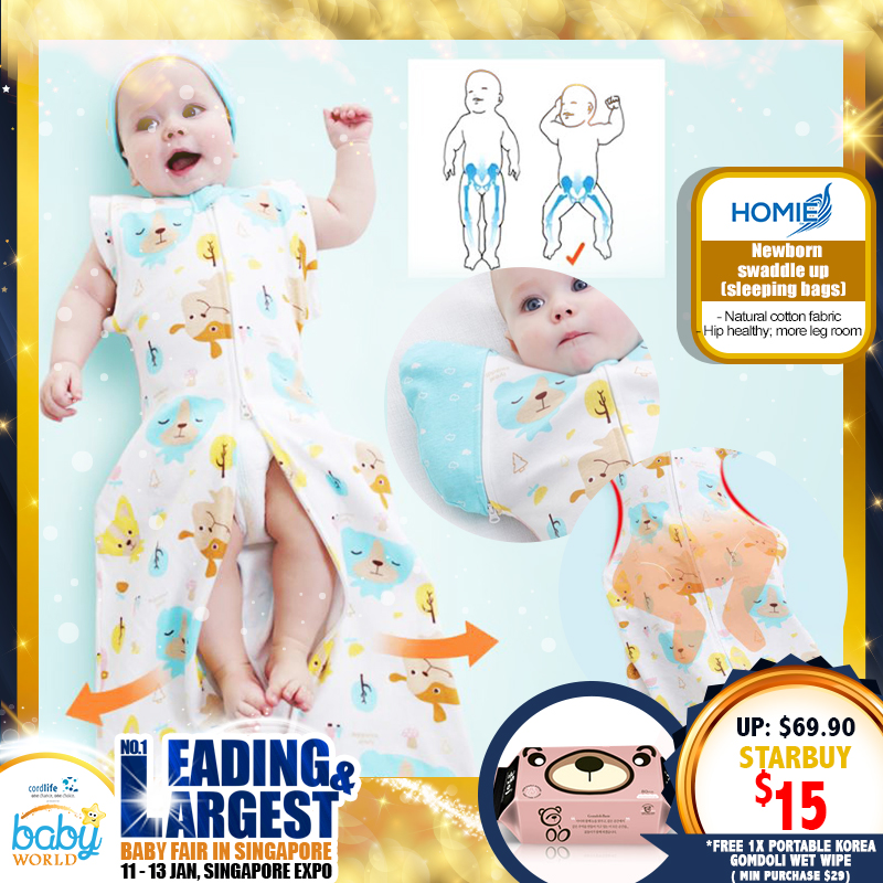 NEW LAUNCH!! Homie Newborn Swaddle Up (Sleeping bag) Asst Designs - 2pcs set *ADDITIONAL FREE Gift for EARLY BIRD SPECIAL!