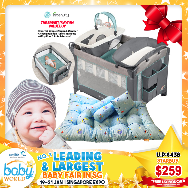 Ingenuity Smart & Simple Playpen CANDLER + Cheeky Bon Bon Tufted N Fibre-filled Mattress & Pillow + 2 Bolsters Bundle *$249 ONLY for EARLY BIRD Specials!