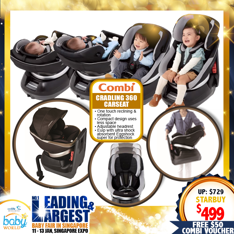 Combi Cradling 360 Newborn Carseat (Newborn to 4 yo) FREE $50 Combi Voucher!!
