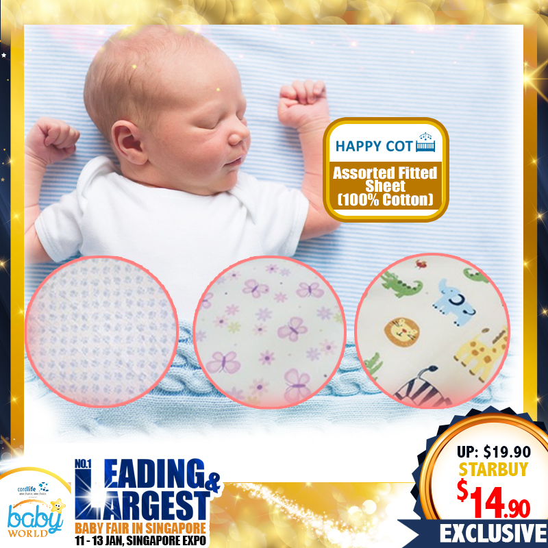 Happy Cot Assorted Fitted Sheet (100% Cotton) - 25 PERCENT OFF