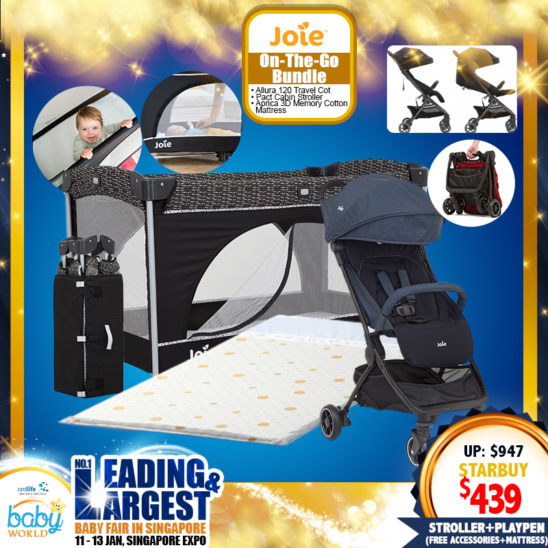 Joie Allura Travel Cot/Playpen + Pact Stroller + 3D Memory Cotton Mattress with cover