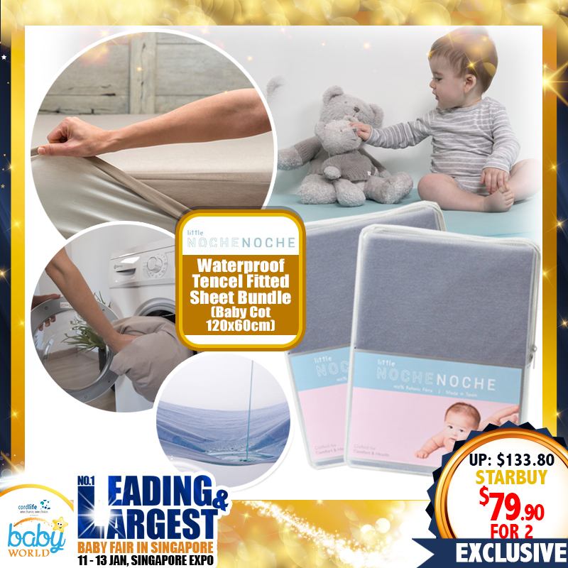 Little NocheNoche Waterproof Tencel Fitted Sheet  for Baby Cot (Different Size Available)