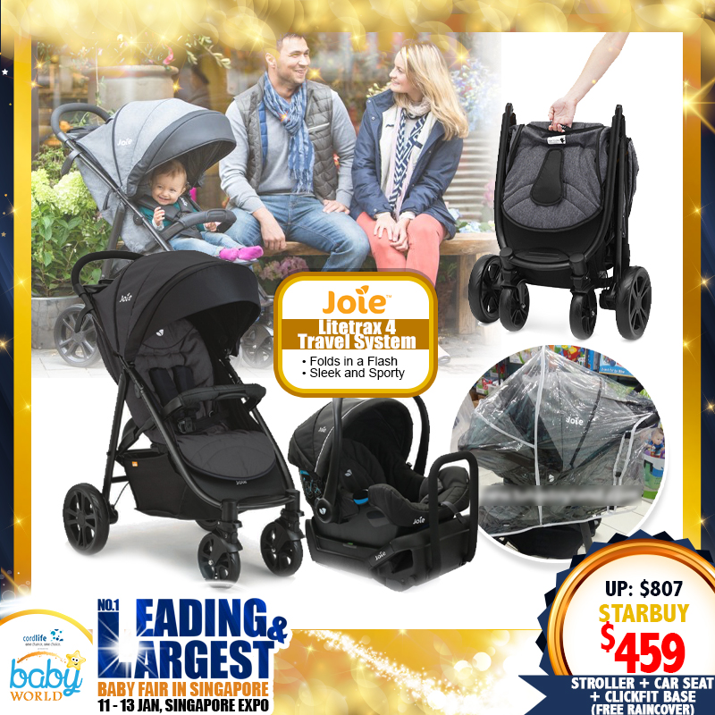 Joie Litetrax 4 Travel System (Stroller + Gemm Carseat) + Clickfit Base + Free Raincover