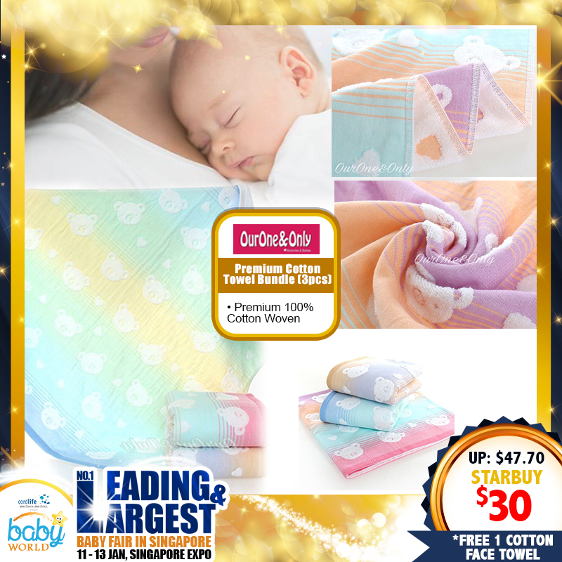 Ourone&Only Premium Cotton Woven Towel Bundle of 3! *ADDITIONAL FREE Gift for EARLY BIRD SPECIAL!!