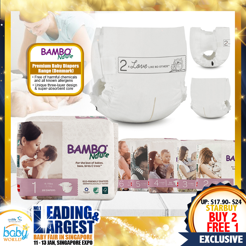 Bambo Nature Premium Baby Diapers (BUY 2 FREE 1)