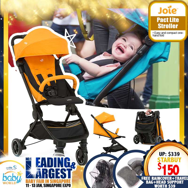 Joie Pact Lite Stroller + Free raincover, travel bag and Little Tikes Dual Head Support worth $39