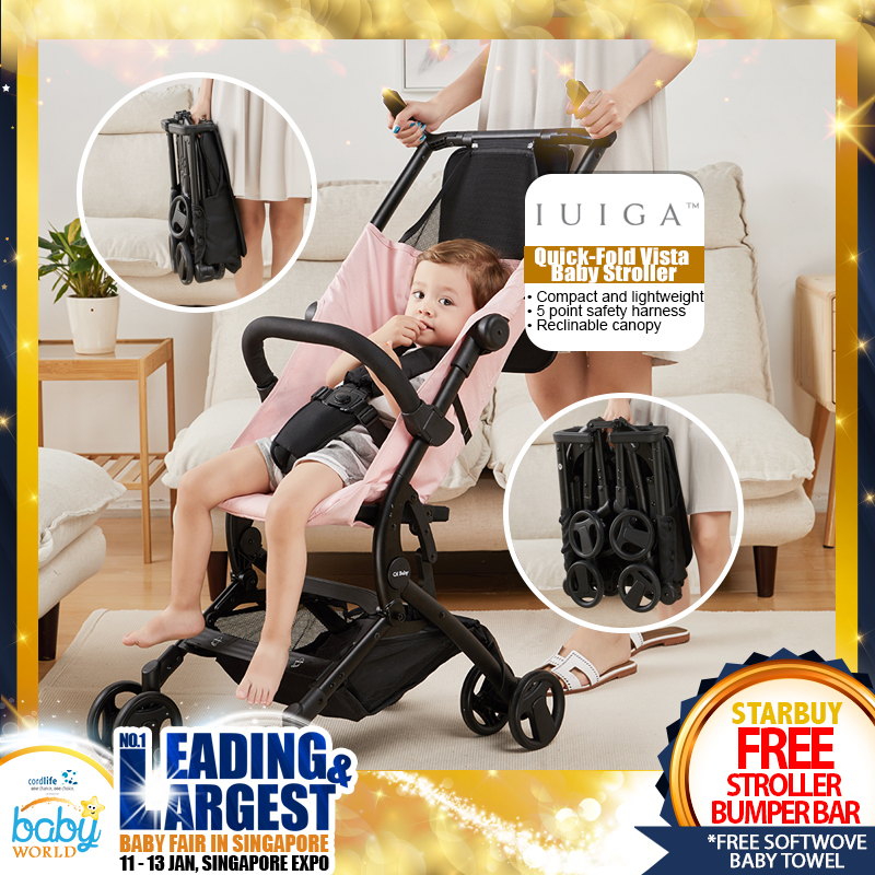 IUIGA Quick-Fold Vista Baby Stroller + Free Stroller Bumper Bar
