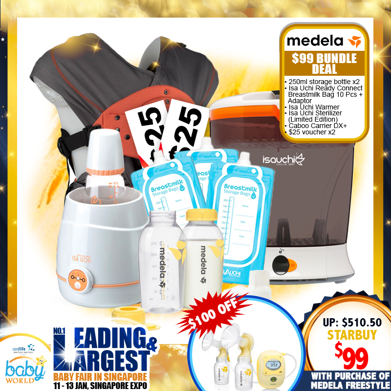 Medela Freestyle All You Need Special $99 + Breastpump Bundle (Caboo DX+ Carrier + Limited Edition Sterilizer + $50 M&B Voucher + MORE!! )