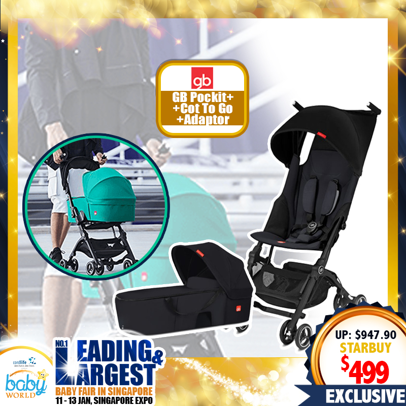 NEW LAUNCH!! GB Pockit+ Y Stroller + Cot To Go Carry Cot FREE Pockit+ Carseat Adapter (BLACK) Bundle
