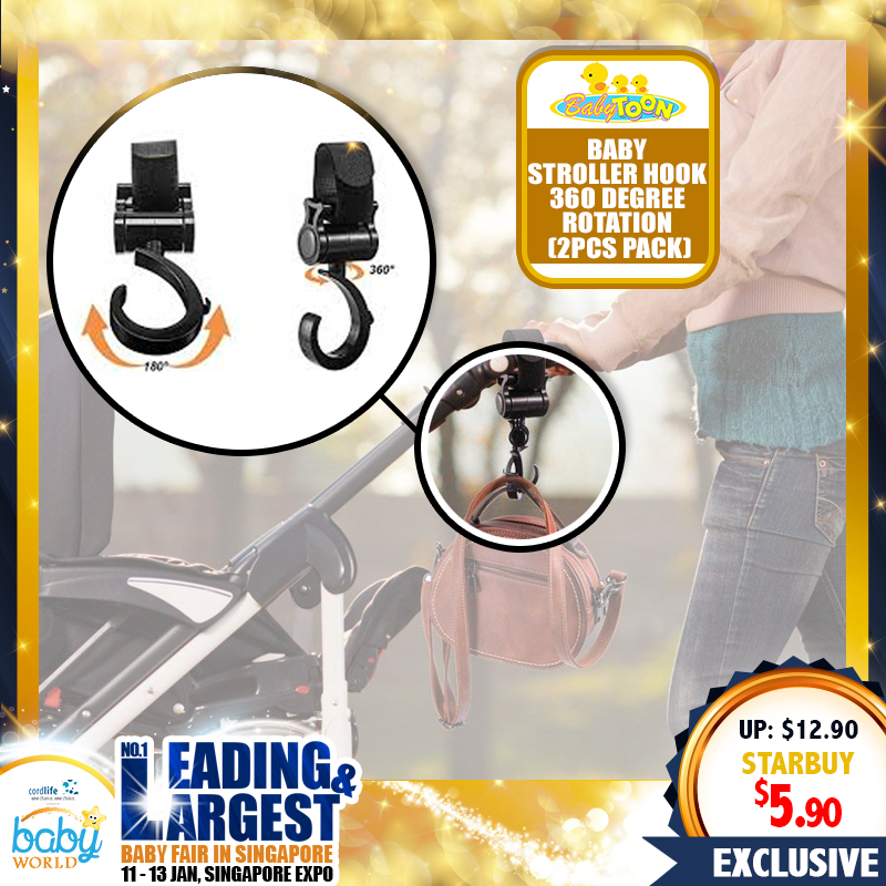 Babytoon Baby Stroller Hook 360 degree rotation - 2 Pack of Multi Purpose Hooks