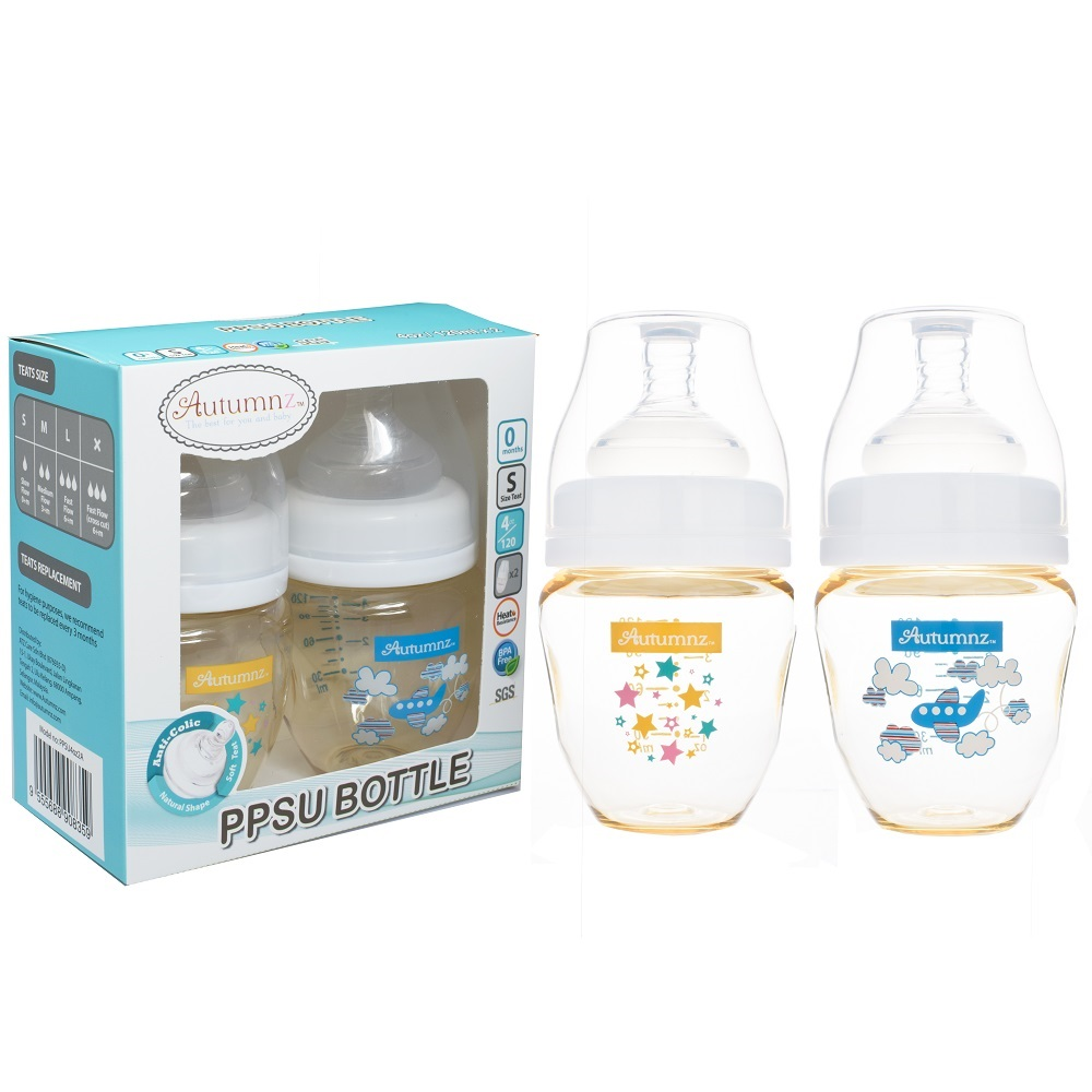 Autumnz 4oz Twin Pack PPSU Wide Neck Feeding Milk Bottle