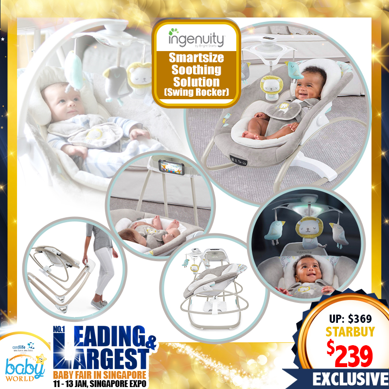 Ingenuity SMartSize 2-in1 Soothing Solutions Swing / Rocker