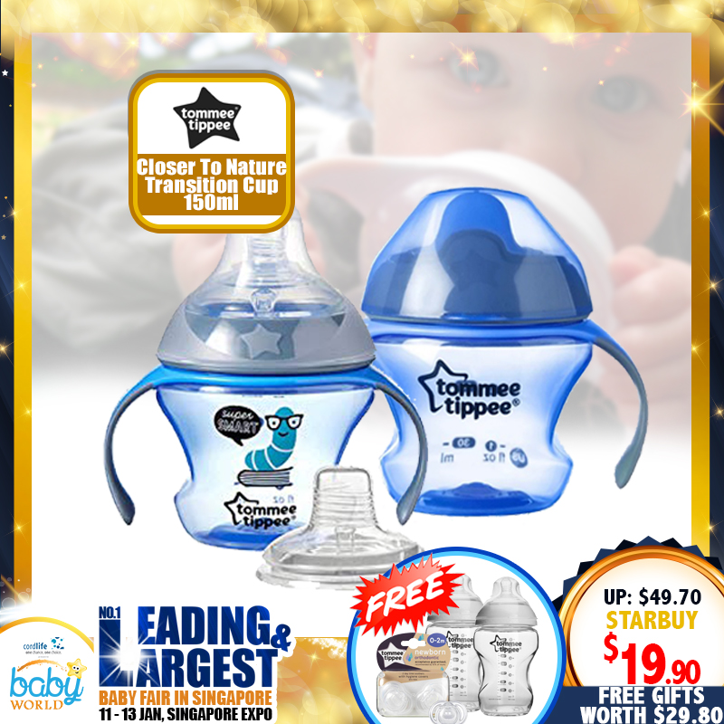 TOMMEE TIPPEE Closer to Nature Transition Cup 150ml (PINK / BLUE) FREE Newborn Soother + PP Bottle (Worth $29.80)!!