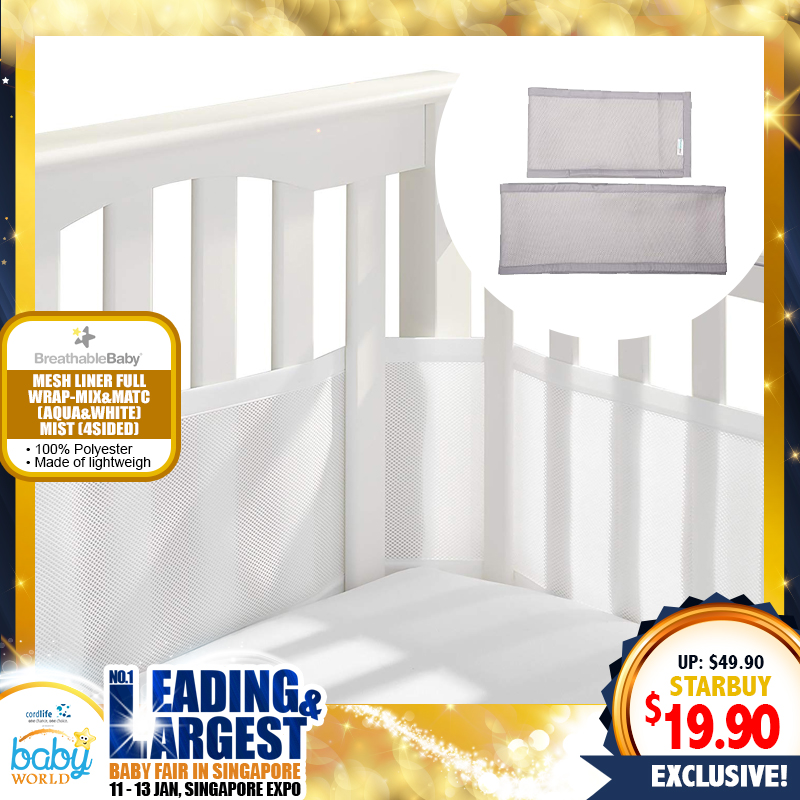 Breathable Baby Mesh Cot Liner 4 Sided Full Wrap - White Mist / Aqua Mist (Mix & Match)