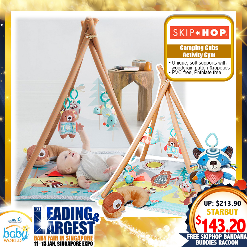 Skip Hop Camping Cubs Baby Activity Gym FREE Skip Hop Bandana Buddies Racoon (Worth $34.90)!!
