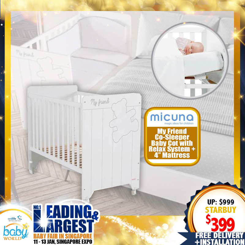 Micuna My Friend Co-Sleeper Baby Cot with Relax System (Made in SPAIN!)  + 4