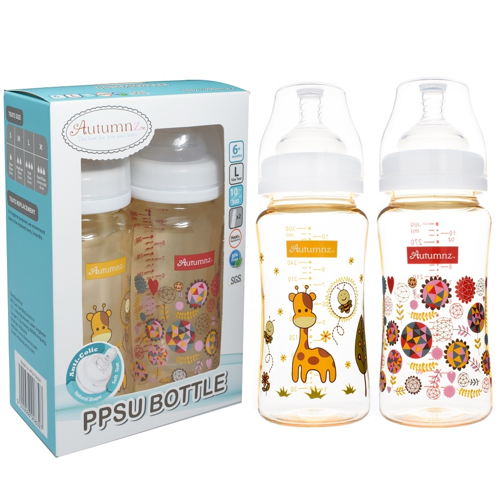 Autumnz 10oz Twin Pack PPSU Wide Neck Feeding Milk Bottle