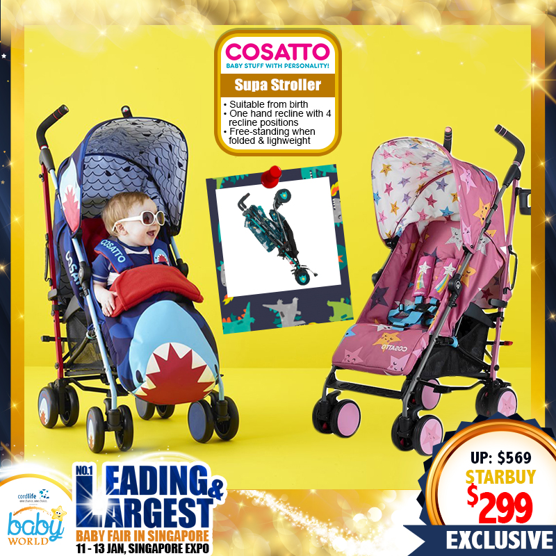 Cosatto Supa Single Stroller + Free Chest pads + Headhugger + Rain Cover